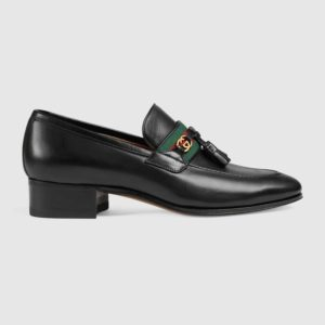 Gucci GG Unisex Loafer with Web and Interlocking G Black Leather
