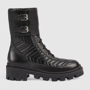 Gucci GG Women's Boot with Interlocking G Black Chevron Matelassè Leather
