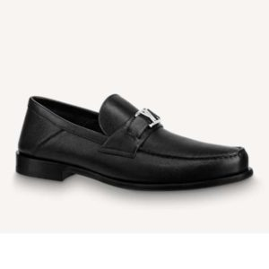 Louis Vuitton Men Major Loafer Grained Calf Leather Wool Lining-Black