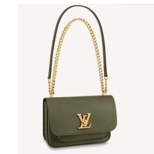 Louis Vuitton Women Lockme Chain PM Handbag Grained Calf Leather-Dark Green